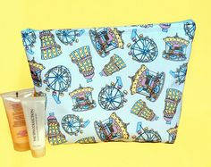 Your place to buy and sell all things handmade Pattern Design, Print Design, Bright Color Schemes, Peg Bag, Waterproof Makeup, Makeup Bags, Wash Bags, Toiletry Bag, Candy Colors