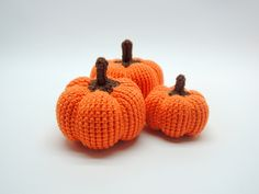 FREE SHIPPING Halloween Set of Three Crochet Pumpkin Crochet Fall Autumn Decor Gift Halloween Thanksgiving Decoration Gift for child by ColoredYarn on Etsy