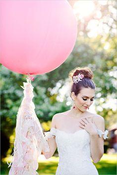 giant balloon   DIY balloon tassel   lace balloon tassel   pink wedding ideas   #weddingchicks