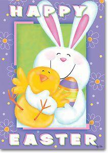 Bunny Hug Easter Decorative Garden Flag by Windswept
