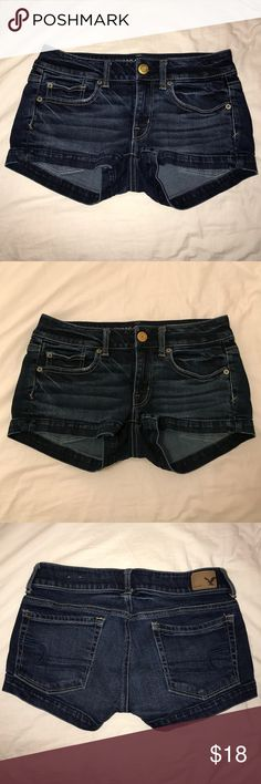 American Eagle Outfitters Stretch Denim Shorts American Eagle Outfitters Stretch Shorts, Size: 2, Color: Denim, Great condition...like new, Included pictures with and without flash to show color, Smoke free home, Bundled discounts, Quick shipping...same or next day, Open to offers, Comment with any further questions(: American Eagle Outfitters Shorts Jean Shorts