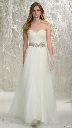 watters brides spring 2016 bridal strapless sweetheart neckline jeweled belt tulle a  line pretty wedding dress style karington