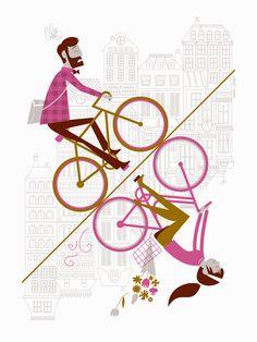 Uphill Downhill Artcrank Poster - 18 x 24 (2nd edition, purple). $35.00, via Etsy.