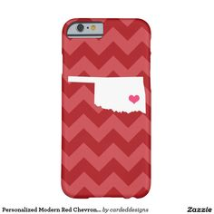 Personalized Modern Red Chevron Oklahoma Heart Barely There iPhone 6 Case