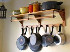 Wall Mount Pot Rack With Shelf