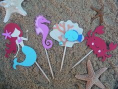 Mermaid Cupcake Toppers Set of 8 Under the Sea Theme Birthday Party Decorations - Mermaid Baby Shower - Sea Creatures - Pool Beach Party