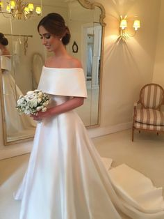 A-line Off the Shoulder Satin Cheap Simple Bridal Wedding Dresses SWD0058 #WeddingDressesOfftheShoulder
