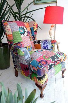 fauteuil patchwork, tapissement de fauteuil original