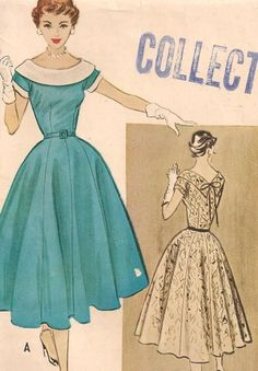 Vintage 1950's Dress Pattern. One of my favorite dress shapes