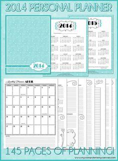 2014 (JAN-DEC) Personal Monthly/Weekly Planner - Printable Instant Download