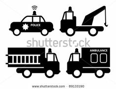 Ambulance, police car, fire truck and tow truck silhouettes, vector illustration by astudio, via Shutterstock