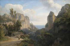 Mill Valley Near Amalfi, 1878 by Carl Hummel  (German 1821-1907)