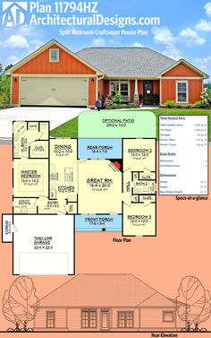 Architectural Designs Split Bedroom Craftsman House Plan 11794HZ is an affordable design with options for a slab, crawlspace or basement and over 1,500 square feet of heated living space. Ready when you are. Where do YOU want to build?