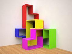 Tetris Shelves by Kazuhiro Murakami  #Bookshelves #Tetris #Kazuhiro_Murakami