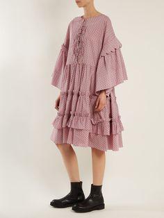 Geometric-print tiered-ruffle cotton dress | Horror Vacui | MATCHESFASHION.COM UK Fashion Details, Love Fashion, Vintage Fashion, Womens Fashion, Modest Fashion, Hijab Fashion, Fashion Dresses, Simple Dresses, Pretty Dresses