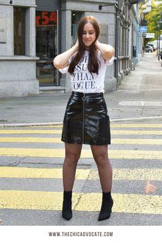 Varnish Mini Skirt & Statement Shirt - Ootd Fall Look - Fashionblog
