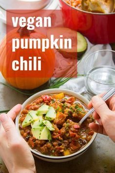 Say hello to the ultimate pumpkin chili! This hearty vegan stew is packed with j… Say hello to the ultimate pumpkin chili! This hearty vegan stew is packed with juicy pumpkin, lentils, and black beans simmered with pumpkin ale and warming spices. Vegan Dinner Recipes, Veg Recipes, Delicious Vegan Recipes, Chili Recipes, Vegan Dinners, Pumpkin Recipes, Healthy Recipes, Vegan Recepies, Vegan Stew
