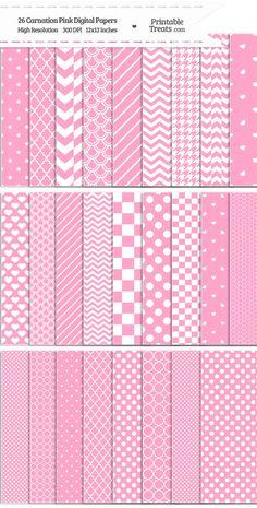 26 Carnation Pink Digital Paper Set Download from PrintableTreats.com
