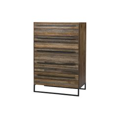 Mixed hardwoods and steel accents are used to construct this handsome five-drawer dresser. All reclaimed wood is removed of nails and old paint so that the. Find Furniture, Furniture Making, Reclaimed Furniture, Wooden Furniture, Dresser As Nightstand, Dressers, Nightstands, Modern Dresser, Dream Decor