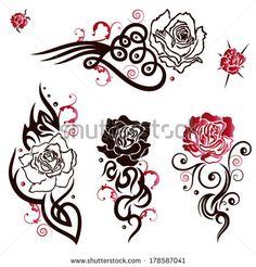 Vector: Rosen Vektor Set im Tribal, Tattoo Style Tribal Rose Tattoos, Red Tattoos, Mini Tattoos, Tatoos, Heart Tattoos, Mother Daughter Tattoos, Tattoos For Daughters, Doodle Drawings, Tattoo Drawings
