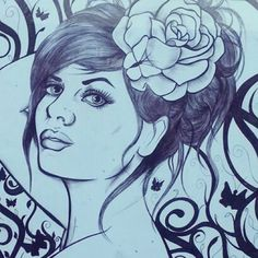 This takes pride in my front room, I drew this whilst I was pregnant.  Thank you to @lauradonohoephotography for allowing me to use one of her photos for reference, please do check her out :) #ukartists #artists_community #artistsofinstagram #handdrawn #flower #flourish #butterfly #longhair #birodrawing #portraitdrawing #artoftheday #picoftheday #model #inkdrawing #ink