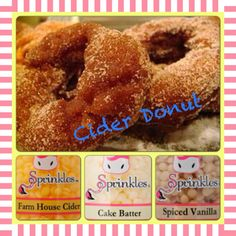 Another yummy apple cider donut recipe Pink Zebra Party, Pink Zebra Home, Pink Zebra Sprinkles, Apple Cider Uses, Apple Cider Donuts, Donut Recipes, My Recipes, Pink Zebra Consultant, Sprinkles Recipe