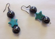 Turquoise Star Barbell Earrings by StarBoundWestern on Etsy Large hematite balls either side of a dazzling turquoise star is a very bold pair of earrings. Wear them with the grounding feeling of these natural gem stones. Barbell Earrings, Star Earrings, Drop Earrings, Hematite Jewelry, Western Earrings, Teal, Turquoise, Gem Stones, Natural Gemstones