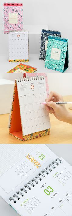 """Add beauty and functionality to your office with the 2017 Ardium Small Desk Calendar dressed in bold floral designs. It makes it easy to see each month at a glance and even has an """"Out of Office"""" sign! Who knew upgrading your office decor was this easy? ^.~*"""