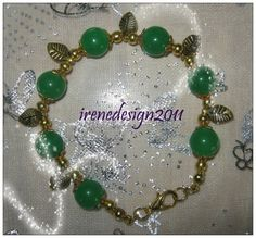 Handmade Gold Bracelet with Green Jade & Leaves by IreneDesign2011 in my Etsy Shop at https://www.etsy.com/listing/185097355