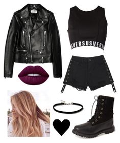 """""""Untitled #25"""" by kimtaehyungkim ❤ liked on Polyvore featuring Yves Saint Laurent, Versus, Timberland, Lime Crime and Topshop"""