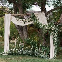 Ceremony, fabric, neutral, white and green. THIS IS PERFECT! How can we make it happen?