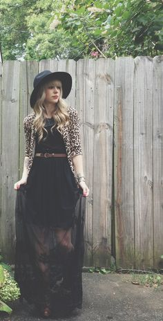 So cute! Black maxi dress with a leopard print sweater and a hat