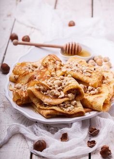 Buy Pancakes with nuts and honey by prosto_juli on PhotoDune. Pancakes with nuts and honey, traditional for Russian pancake week. Pancakes, Waffles, Crepe Recipes, Apple Pie, Honey, Healthy Recipes, Meals, Cooking, Breakfast