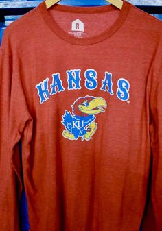 Kansas Jayhawks Red Arch Mascot Long Sleeve Fashion T Shirt - 5719164 University Of Kansas, Kansas Jayhawks, Arch, Fashion Outfits, Sweatshirts, Tees, Long Sleeve, Sleeves, T Shirt