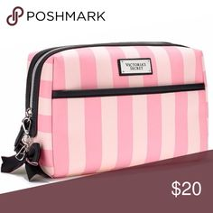Striped Pink Beauty Essentials Large Cosmetic Bag Brand new with tags. Still in factory packaging Victoria's Secret Bags Cosmetic Bags & Cases