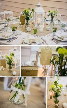 Lanterne centre de table lin et dentelle Déco et fleurs by FéeLicité Photo Raphael Melka Décoration de mariage Lin et Dentelle, Bergbieten