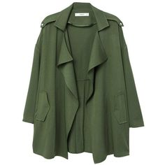 Flowy Lapelled Jacket (265 RON) ❤ liked on Polyvore featuring outerwear, jackets, long sleeve jacket, green jacket, lapel jacket and mango jackets