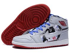 161d5acd29a9 Nike Air Jordan 1 High Shoes In White Grey Blue Red