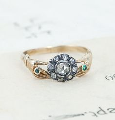 Georgian Rose Cut Diamond Cluster Ring with Hand Shoulders
