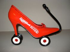 "high heel shoe sculpture ""Little Red Wagon"". $125.00, via Etsy."