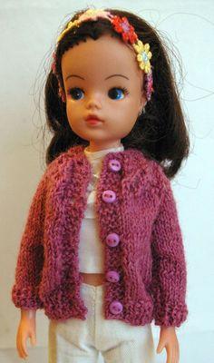 Rose Sindy cardigan with lacy yoke DOLLS Jacket Tammy Tressy Barbie Tilda Susi