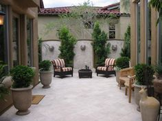 Courtyard with wall fountains