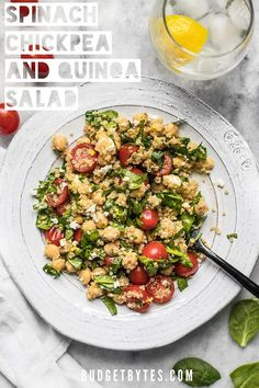 This Spinach Chickpea and Quinoa Salad is an awesome base to build meals throughout the week and it holds up extremely well in the fridge, so you can eat better with less effort.