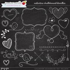 Valentine Chalkboard Doodles Digital Clipart  by JWIllustrations, $5.00