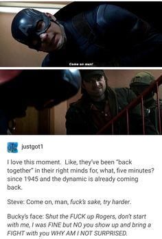 These two are written into each other's bones. #steverogers #buckybarnes #brooklynbros