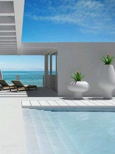 Swimming pool on one side, ocean view on the other.