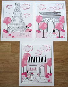 Paris Bedding Theme For Girls | Pink Black Paris Parisan Toile 3 Art Prints For Girls bedding or bath ...