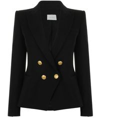 Pierre Balmain Wool Double Breasted Blazer (59.265 RUB) ❤ liked on Polyvore  featuring outerwear, jackets, blazers, coats, black, wool blazer, ... 84152b4ae44