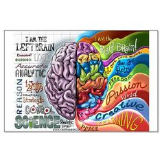 Left Brain Right Brain Cartoon Poster Large Poster
