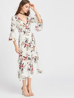 Plunge Neck Floral Print Bell Sleeve Slit Side Dress sold by URBANE OUTFITTERS. Shop more products from URBANE OUTFITTERS on Storenvy, the home of independent small businesses all over the world.